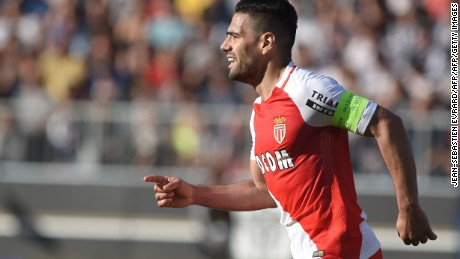 Monaco's Colombian forward Radamel Falcao celebrates after scoring a goal  during the French L1 football match between Angers (ASCO) and Monaco (ASM) on April 8, 2017, at the Raymond Kopa Stadium in Angers, western France. / AFP PHOTO / JEAN-SEBASTIEN EVRARD        (Photo credit should read JEAN-SEBASTIEN EVRARD/AFP/Getty Images)