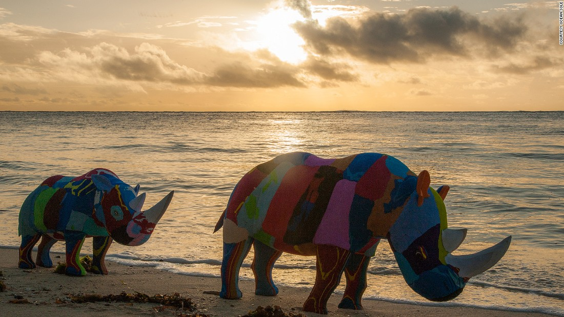 """Our founder Julie Church back in the 90s discovered an entire beach ... was just covered in flip flops,"" Erin Smith, of Ocean Sole, says. ""What she saw were not just dead fish that had been trying to eat in their natural habitat, but turtles unable to come up on to land and actually hatch."" <br />The sculptures depict animals to draw attention to the human effect on their habitat."