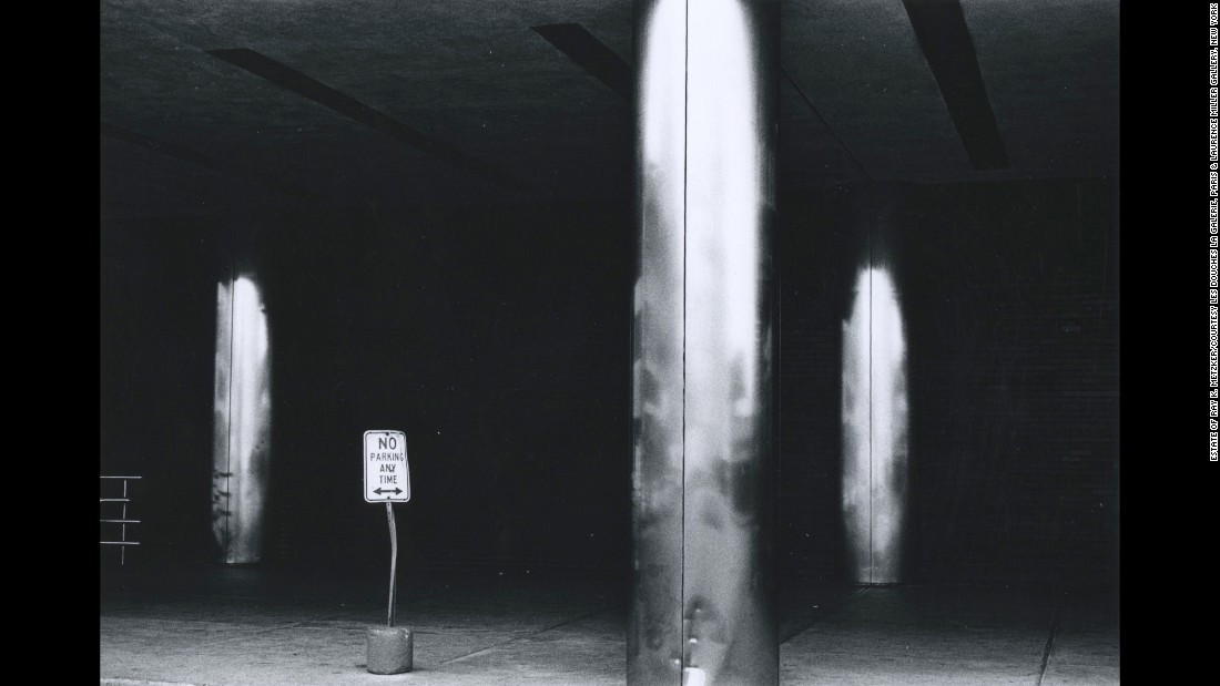 "Light reflects off columns in Philadelphia in 1963. The ""Abstractions"" exhibit in Paris will be on display until May 27."