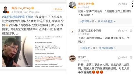 "Comedian Joe Wong was among many Chinese commenters on social media denouncing United's treatment of an Asian passenger. Wong denounced the airline for ""discrimination"" against Asians."