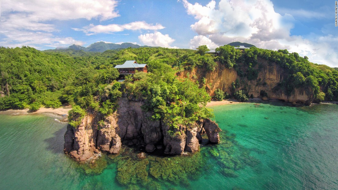 <strong>Secret Bay </strong>-- With eight bungalows hidden amid thick foliage on a cliff in Dominica, Secret Bay feels as if it were built for honeymooners.