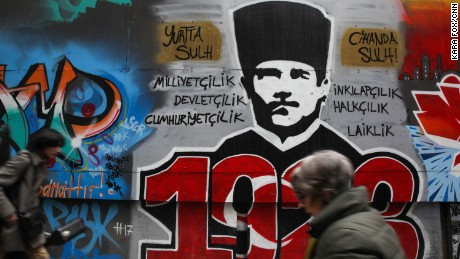 Graffiti of Mustafa Kemal Ataturk, the father of modern Turkey, appears on the streets of Istanbul.