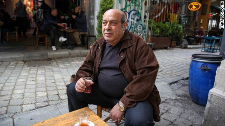 Former Peoples' Democratic Party (HDP) MP Hasip Kaplan drinks tea at a cafe in Istanbul on Sunday, April 9, 2017.