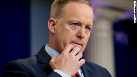 White House press secretary Sean Spicer pauses while talking to the media during the daily press briefing at the White House in Washington, Tuesday, April 11, 2017. Spicer discussed Syria, Trump's 2016 tax returns, the Easter Egg Roll and other topics. (AP Photo/Andrew Harnik)