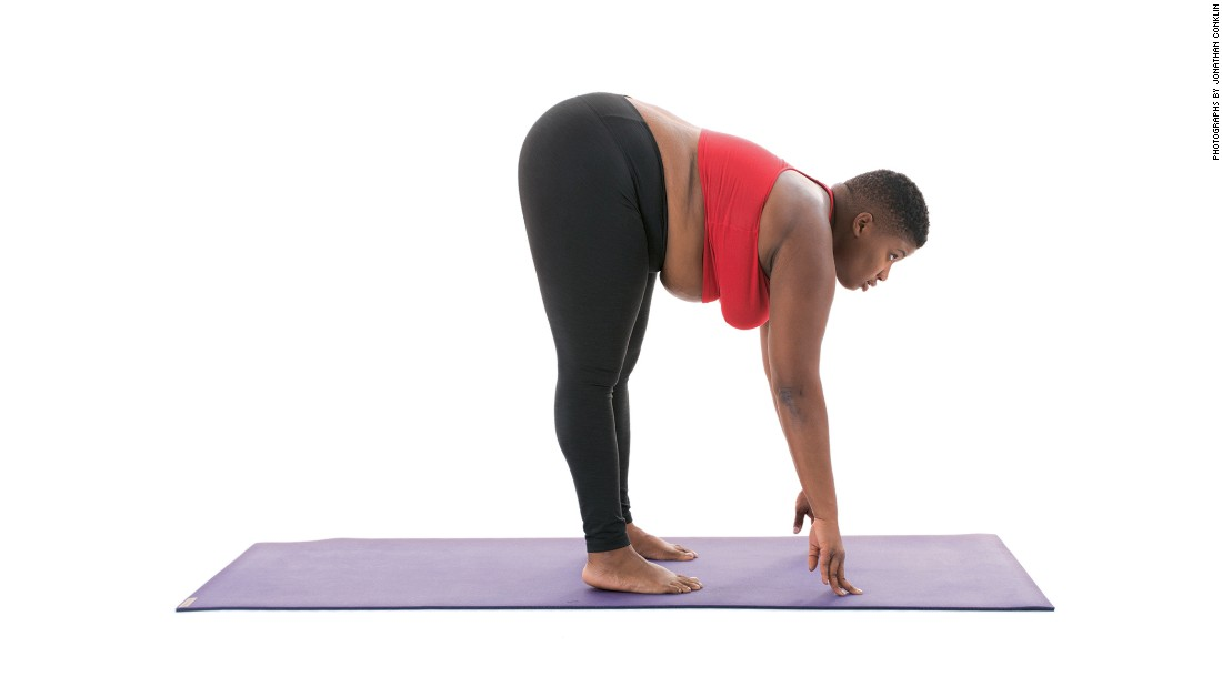 "<strong>Standing half forward fold: Ardha Uttanasana </strong>You can do this pose supported, with a block under your hands or unsupported, with your fingertips directly on the floor. Key suggestions from Stanley include, ""Keep your weight stacked over your heels. Keep you spine long and shoulders relaxed. Keep your hands down or on your shins as you lift your chest. You can bend your knees in order to keep your hands on the ground."""