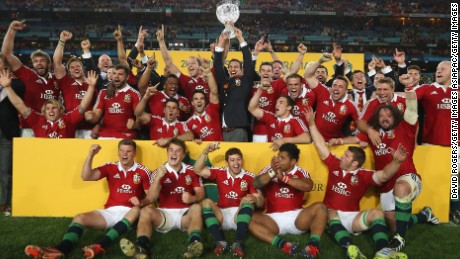 SYDNEY, AUSTRALIA - JULY 06:  The Lions celebrate their victory during the International Test match between the Australian Wallabies and British & Irish Lions at ANZ Stadium on July 6, 2013 in Sydney, Australia.  (Photo by David Rogers/Getty Images)
