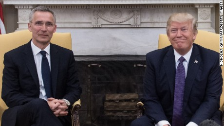 US President Donald Trump meets with NATO Secretary General Jens Stoltenberg in the Oval Office at the White House in Washington, DC, on April 12, 2017 prior to talks. / AFP PHOTO / NICHOLAS KAMM        (Photo credit should read NICHOLAS KAMM/AFP/Getty Images)
