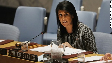 NEW YORK, NY - APRIL 12:  U.S. Ambassador to the United Nations Nikki Haley speaks at a United Nations (UN) Security Council meeting on the situation in the Middle East where the ongoing conflict in Syria was discussed on April 12, 2017 in New York City. It is expected that the Security Council will vote later on Wednesday on a draft resolution demanding that theÊSyrian government cooperate with an investigation of the suspected chemical attack last week.  (Photo by Spencer Platt/Getty Images)