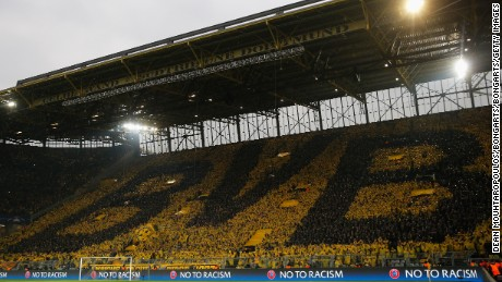 Dortmund's famed 'yellow wall' -- Europe's largest free standing terrace which holds 25,000 fans -- was subdued in the first half as Dortmund struggled against Monaco