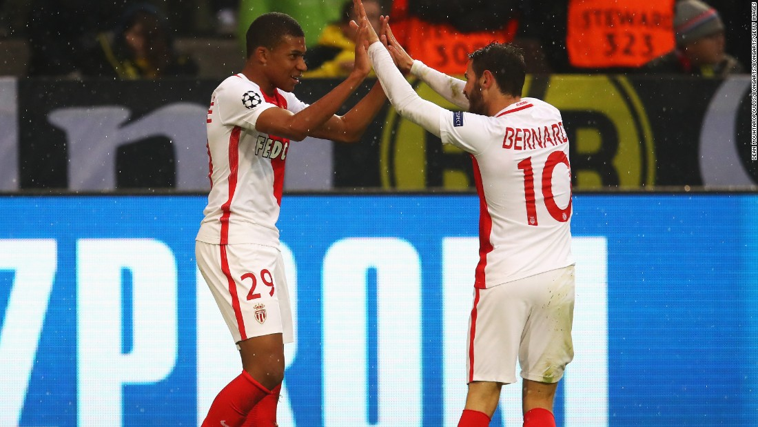 Eighteen-year-old striker Kylian Mbappe was Monaco's star man, becoming the youngest player to score two goals in the knockout stages of the Champions League.