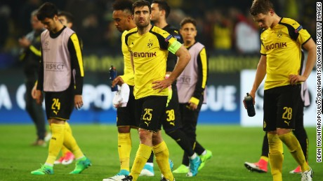 Sokratis Papastathopoulos cuts a dejected figure after his suffer a first home defeat in 21 games.