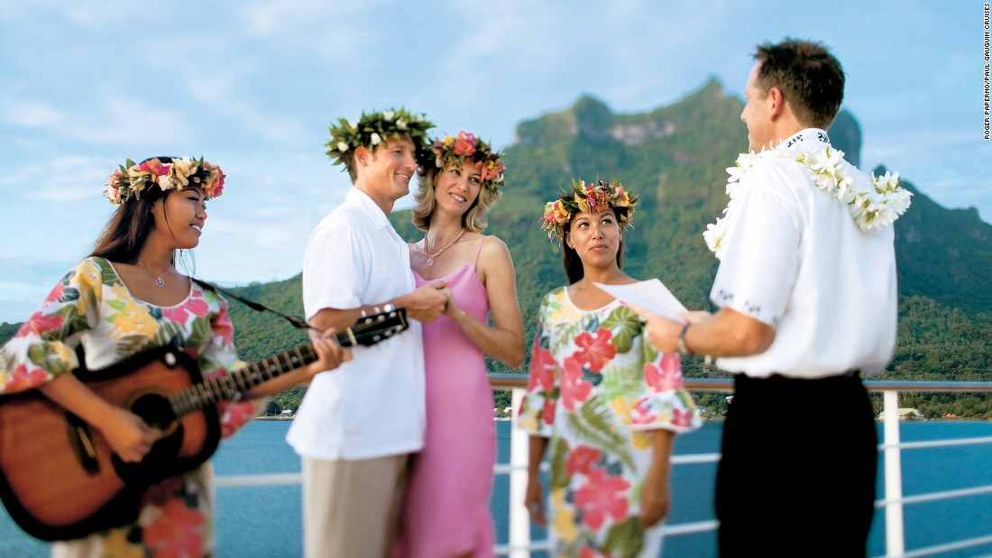 <strong>Paul Gauguin Cruises:</strong> What's more romantic than a leisurely sail around Tahiti? A wedding on deck.