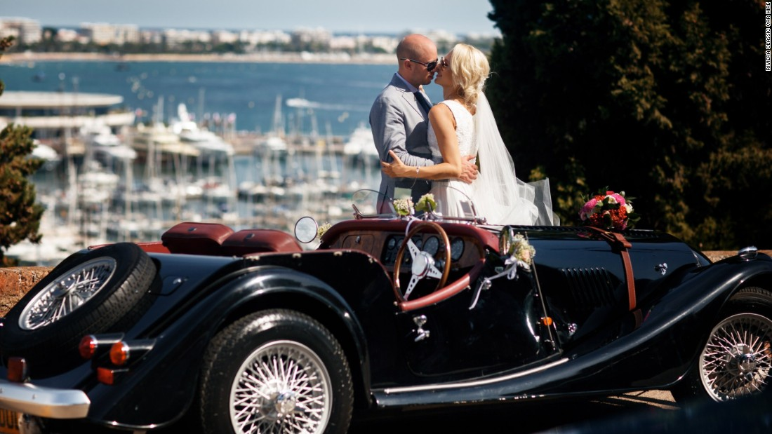 <strong>Wedding wheels:</strong> A classic Morgan sports car as your wedding wheels with the Riviera as the backdrop is about as romantic as it gets.