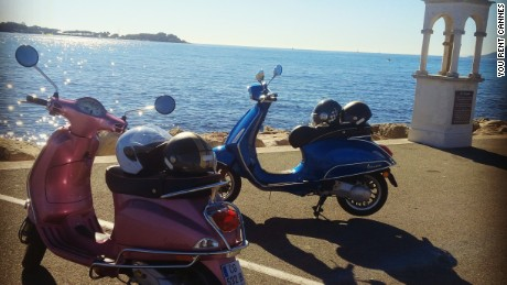 A sporty Vespa is a popular and versatile way to explore Cannes.