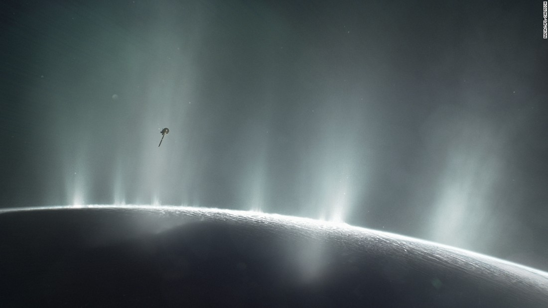 "In April 2017, NASA revealed new evidence that the most likely places to find life beyond Earth are Jupiter's moon Europa or Saturn's moon Enceladus. The Cassini spacecraft, pictured here, made the discovery. ""Enceladus is high on the list in the solar system for showing habitable conditions,"" said Hunter Waite, lead author of the <a href=""http://www.swri.org/press-release/swri-scientists-discover-evidence-habitable-region-within-saturns-moon-enceladus#.WO_K4fnyupo"" target=""_blank"">Enceladus study</a>."