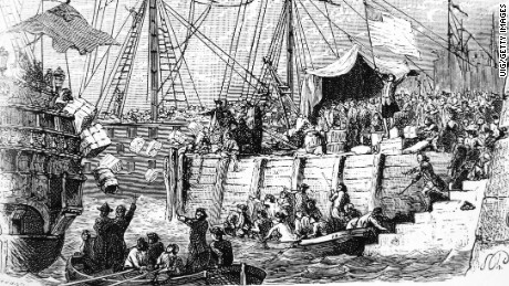 Boston Tea Party, 1773. (Photo by: Universal History Archive/UIG via Getty Images)
