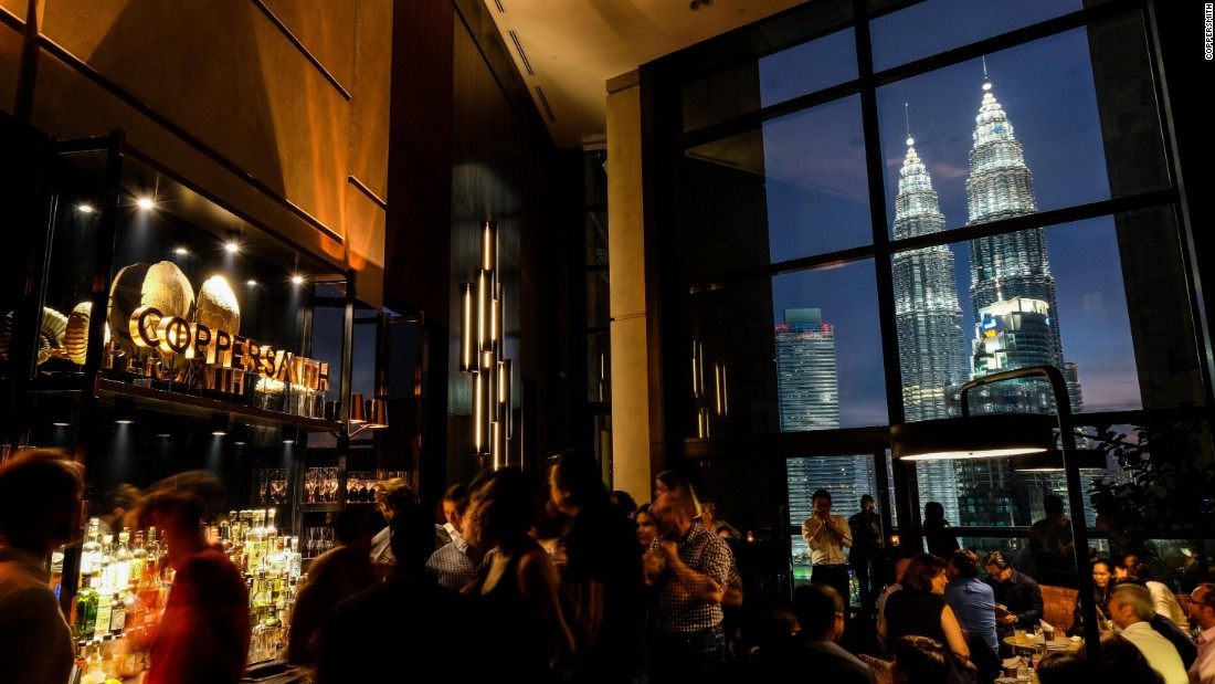 <strong>Coppersmith: </strong>Coppersmith inhabits the shadowed walkways between a wine bar and a restaurant in the imposing Troika towers. It's small but stately, with high ceilings and full-length windows with a view of the Petronas twin towers.
