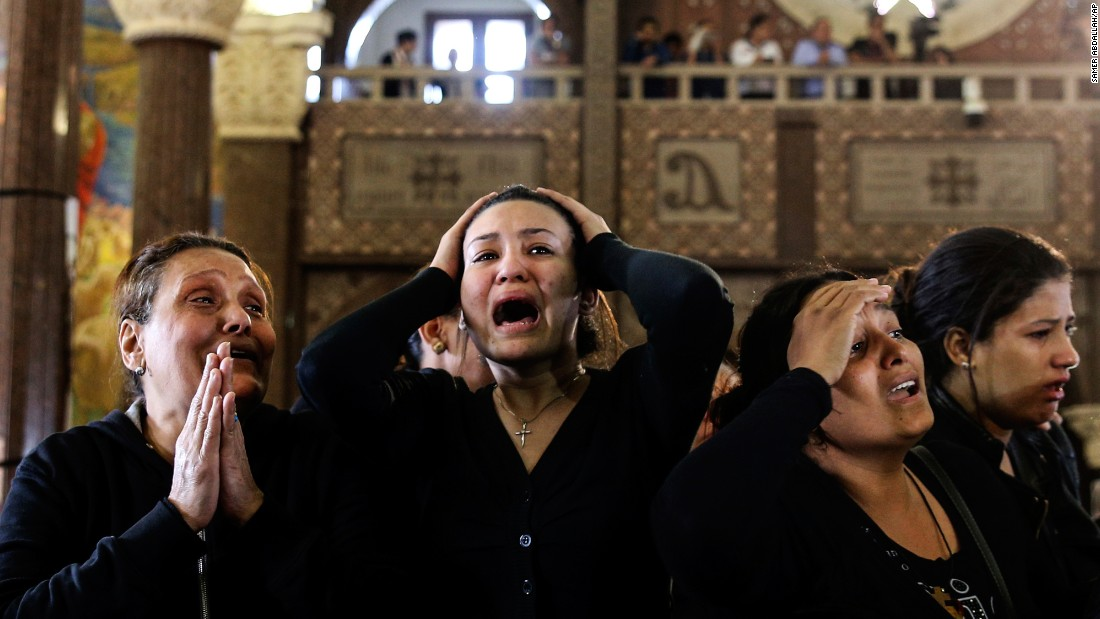 "Women cry at a funeral Monday, April 10, for those killed a day earlier in Alexandria, Egypt. <a href=""http://www.cnn.com/2017/04/10/middleeast/egypt-church-explosion/"" target=""_blank"">Brazen attacks by ISIS</a> killed dozens at two Coptic Christian churches on Palm Sunday. Egypt's Cabinet announced a three-month state of emergency to help authorities root out the terror network."