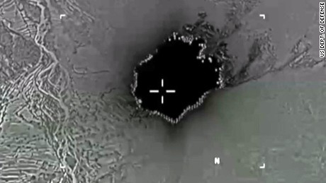 Department of Defense video screen grab of the use of the MOAB bomb in Afghanistan.