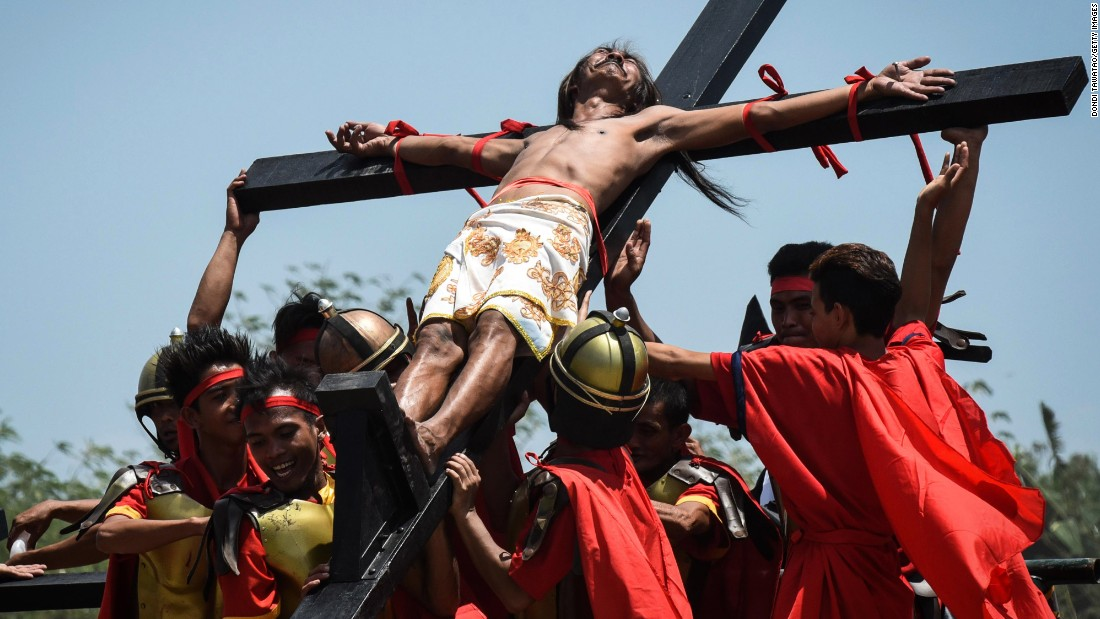 Christ's crucifixion is re-enacted in San Fernando, Philippines, on April 14.