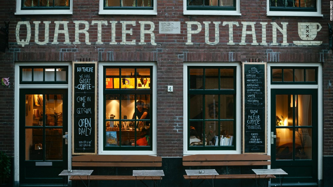 <strong>Quartier Putain: </strong>The name of this cafe comes from the French slang for the activity that made the Red Light District famous.