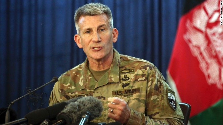 Commander of the Resolute Support mission and U.S. Forces in Afghanistan Army Gen. John W. Nicholson speaks during a press conference, in Kabul, Afghanistan, Friday, April 14, 2017.