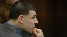 CORRECTS DAY TO FRIDAY - Former New England Patriots tight end Aaron Hernandez attends his double murder trial during the sixth day of jury deliberations at Suffolk Superior Court Friday, April 14, 2017 in Boston. Hernandez is standing trial for the July 2012 killings of Daniel de Abreu and Safiro Furtado who he encountered in a Boston nightclub. The former NFL player is already serving a life sentence in the 2013 killing of semi-professional football player Odin Lloyd. (AP Photo/Stephan Savoia, Pool)
