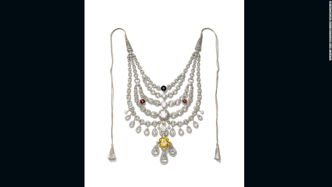 Like many western houses during the Art Deco period, Cartier was greatly inspired by Indian heritage and culture. In 1928 it produced this necklace by special order from Sir Bhupindra Singh, Maharaja of Patiala. The necklace vanished after Indian independence in 1947, only to resurface 50 years later.