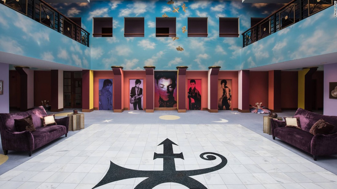 <strong>Ashes -- </strong>The Paisley Park tour begins in the atrium, where Prince's ashes are kept in a miniaturized version of his home.