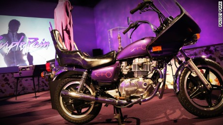 The Purple Rain room houses the motorbike, cloud guitar and purple piano from the film.
