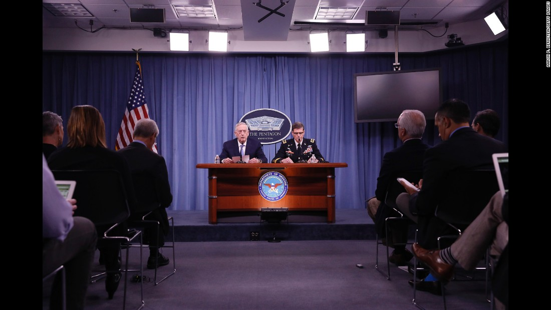 "US Defense Secretary James Mattis, left, and Army Gen. Joseph Votel, the commander of US Central Command, speak at a news conference at the Pentagon on Tuesday, April 11. Mattis said that America's priority in Syria is still the defeat of ISIS, but <a href=""http://www.cnn.com/2017/04/11/politics/mattis-syria-isis-chemical/"" target=""_blank"">he made it clear</a> the use of chemical weapons could warrant additional military actions like <a href=""http://www.cnn.com/2017/04/07/middleeast/shayrat-air-base-explainer/"" target=""_blank"">the recent missile strike</a> against a Syrian air base."