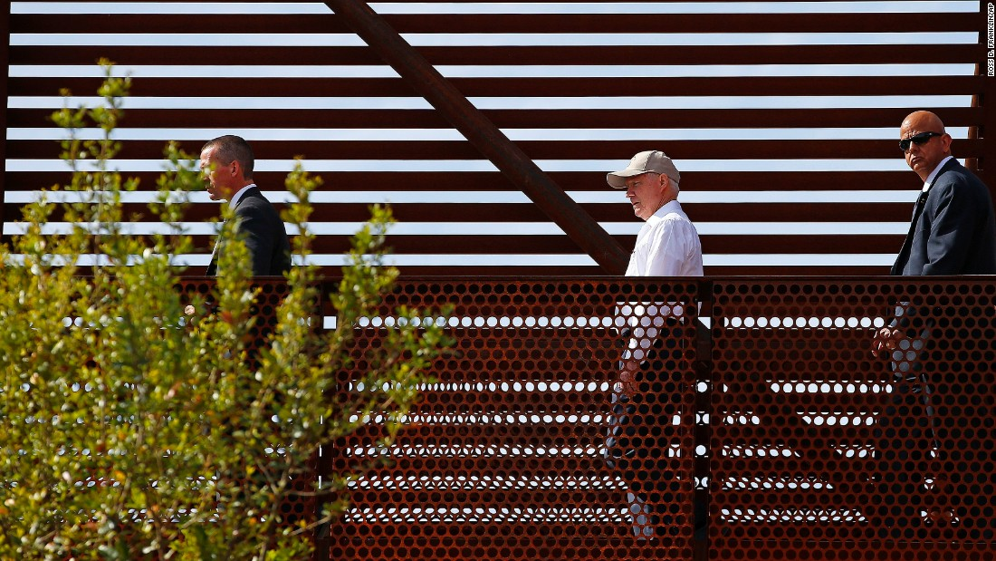 "US Attorney General Jeff Sessions, center, tours the US-Mexico border while visiting Nogales, Arizona, on Tuesday, April 11. The Justice Department <a href=""http://www.cnn.com/2017/04/11/politics/trump-immigration-sessions-prosecutions/"" target=""_blank"">announced it would take further steps</a> to increase prosecutions against undocumented immigrants."
