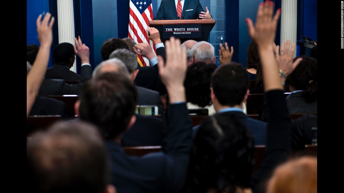 "Reporters raise their hands during a briefing by White House Press Secretary Sean Spicer on Tuesday, April 11. Spicer, in an effort to shame Russia's alliance with Syrian President Bashar al-Assad, commented that Adolf Hitler ""didn't even sink to using chemical weapons."" He <a href=""http://www.cnn.com/2017/04/11/politics/sean-spicer-hitler-assad-gas-chemical-weapons/"" target=""_blank"">apologized for the comment</a> later that day. ""I was obviously trying to make a point about the heinous acts that Assad had made against his own people last week, using chemical weapons and gas,"" Spicer said in an exclusive interview with CNN's Wolf Blitzer. ""Frankly, I mistakenly made an inappropriate and insensitive reference to the Holocaust, for which there is no comparison. And for that I apologize. It was a mistake to do that."""