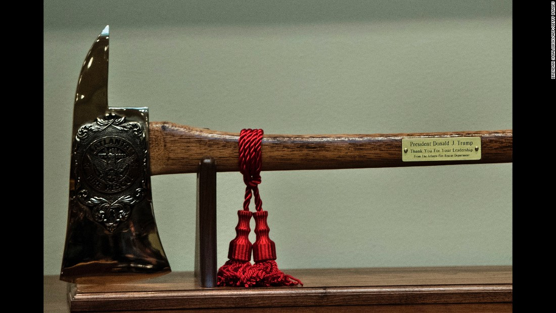 "This ax was given to President Trump by Atlanta Fire Chief Joel Baker, who was visiting the White House on Thursday, April 13, along with other first responders who worked at the site of Atlanta's fiery highway collapse. Trump <a href=""http://www.cnn.com/2017/04/13/us/trump-atlanta-highway/"" target=""_blank"">praised</a> their ""heroic"" and ""brave"" actions."
