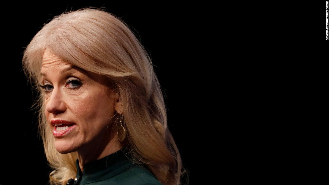 "White House Adviser Kellyanne Conway speaks at the Newseum in Washington on Wednesday, April 12. Conway was speaking at an event called ""The President and the Press: The First Amendment in the First 100 Days."""