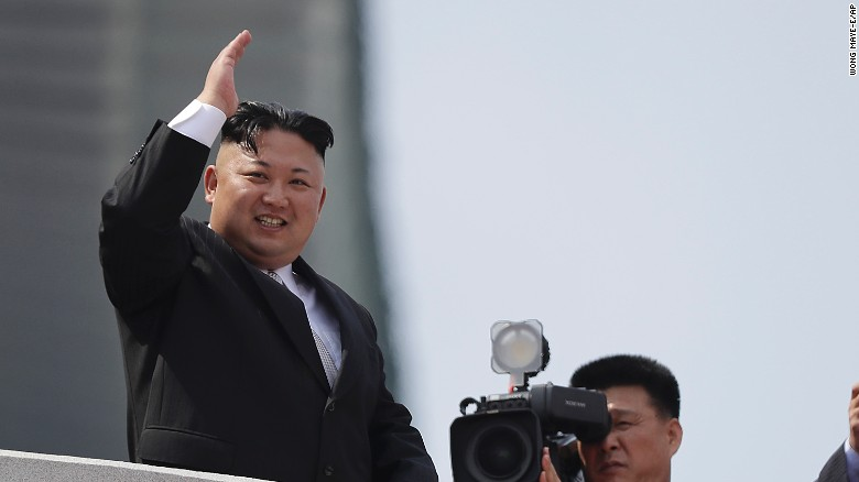 North Korean leader Kim Jong Un waves during a military parade on Saturday, April 15, in Pyongyang to celebrate the 105th anniversary of Kim Il Sung's birth, the country's late founder and grandfather of current ruler Kim Jong Un.