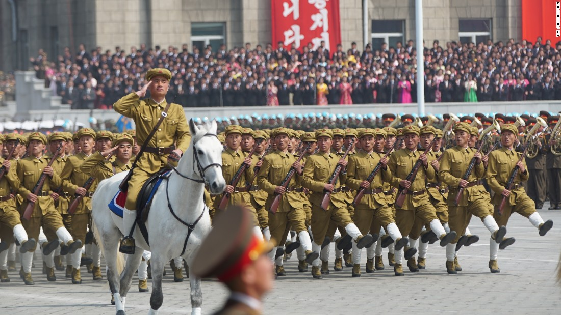 "North Korean soldiers march on April 15, <a href=""http://edition.cnn.com/2017/04/14/asia/north-korea-day-of-the-sun/"" target=""_blank"">as the nation marks the birth of its founder, Kim Il Sung,</a> who is also the grandfather of current leader Kim Jong Un."