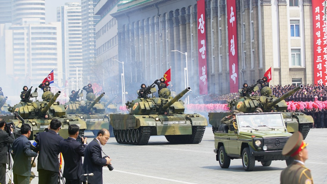 Tanks roll through Kim Il Sung Square in Pyongyang.