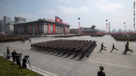 Korean People's Army (KPA) soldiers march on Kim Il-Sung square during a military parade marking the 105th anniversary of the birth of late North Korean leader Kim Il-Sung in Pyongyang on April 15, 2017.  