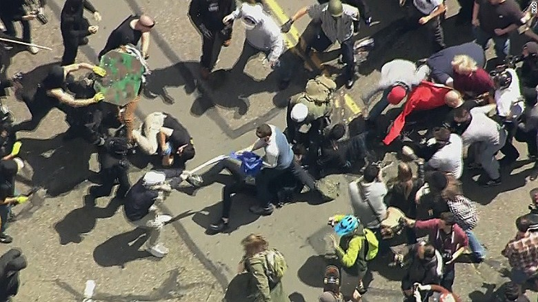 Fights erupt at California protest