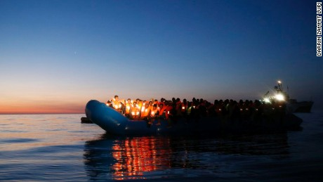 One of the boats, containing an estimated 1,500-1,800 migrants in the Mediterranean Sea on the evening of Saturday April 14.