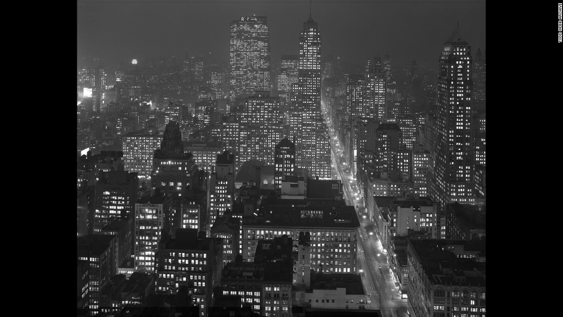 "A nighttime view of New York is seen from the Empire State Building in this 1946 photo made by Todd Webb. There will be two exhibitions of the photographer's work opening on April 20: ""A City Seen: Todd Webb's Postwar New York, 1945-1960"" at the <a href=""http://www.mcny.org/exhibition/city-seen"" target=""_blank"">Museum of the City of New York</a> and ""Down Any Street: Todd Webb's Photographs of New York, 1945-1960"" at <a href=""http://www.thecuratorgallery.com/down-any-street-press-release"" target=""_blank"">The Curator Gallery</a>."