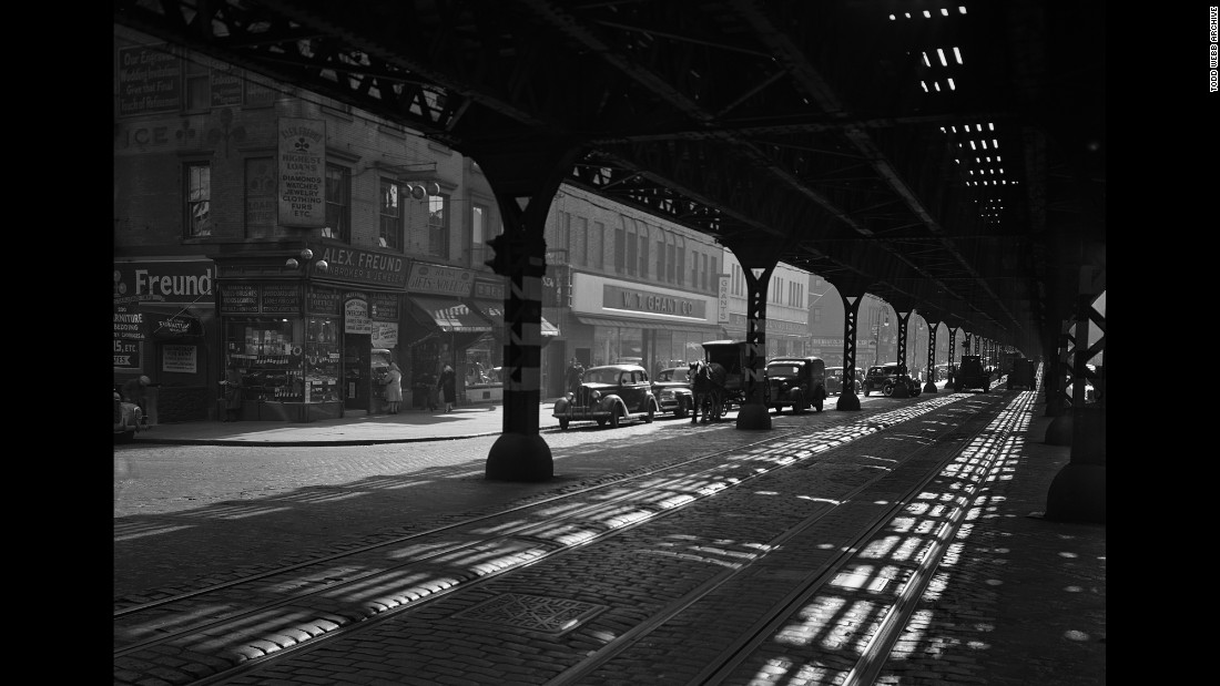 The view from under the Third Avenue Elevated rail in 1946. The train line, which ran from South Ferry to the Bronx, was decommissioned in the early 1950s and fully terminated in 1973. It was the last elevated line to operate in Manhattan.