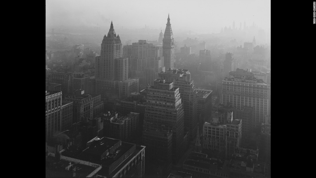 "Looking south from the Empire State Building during daytime in 1946. Webb died in April 2000 at age 94. As the Todd Webb Archive writes: ""His life was like his photographs; at first they seem very simple, without obvious tricks or manipulation, but upon closer examination, they are increasingly complex and marvelously subtle."""