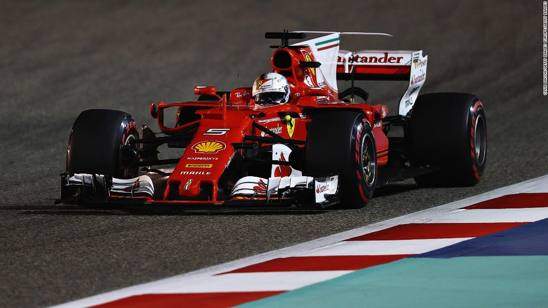 Sebastian Vettel clinched a third win at the Bahrain International Circuit in Sunday's race. The German won for Red Bull in 2012 and 2013.