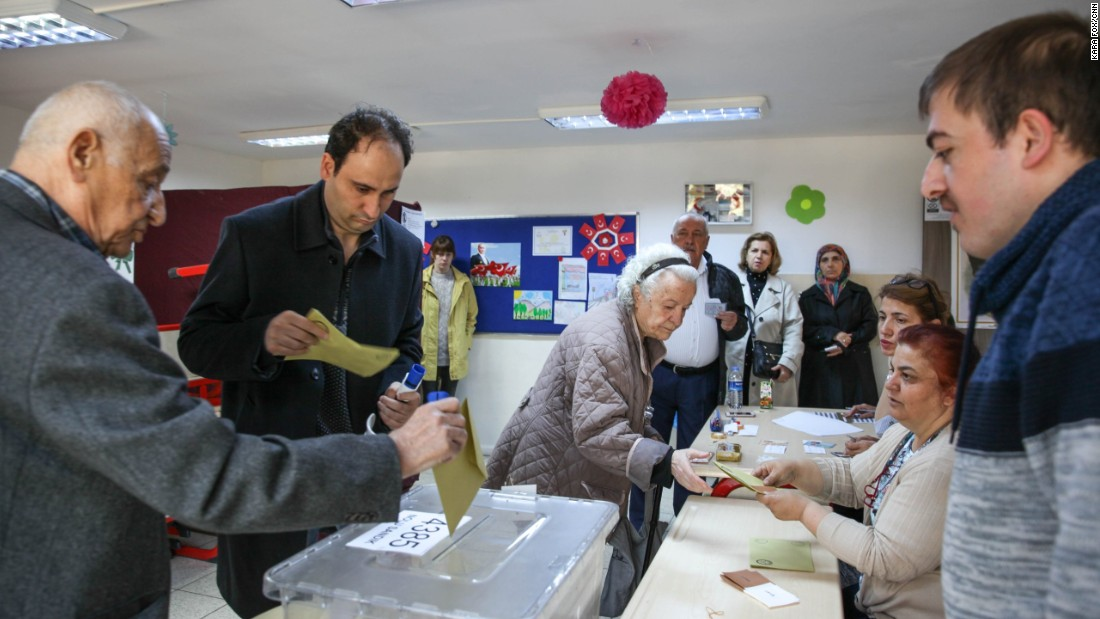 Ankara residents cast their votes at a polling station in the Turkish capital on Sunday.