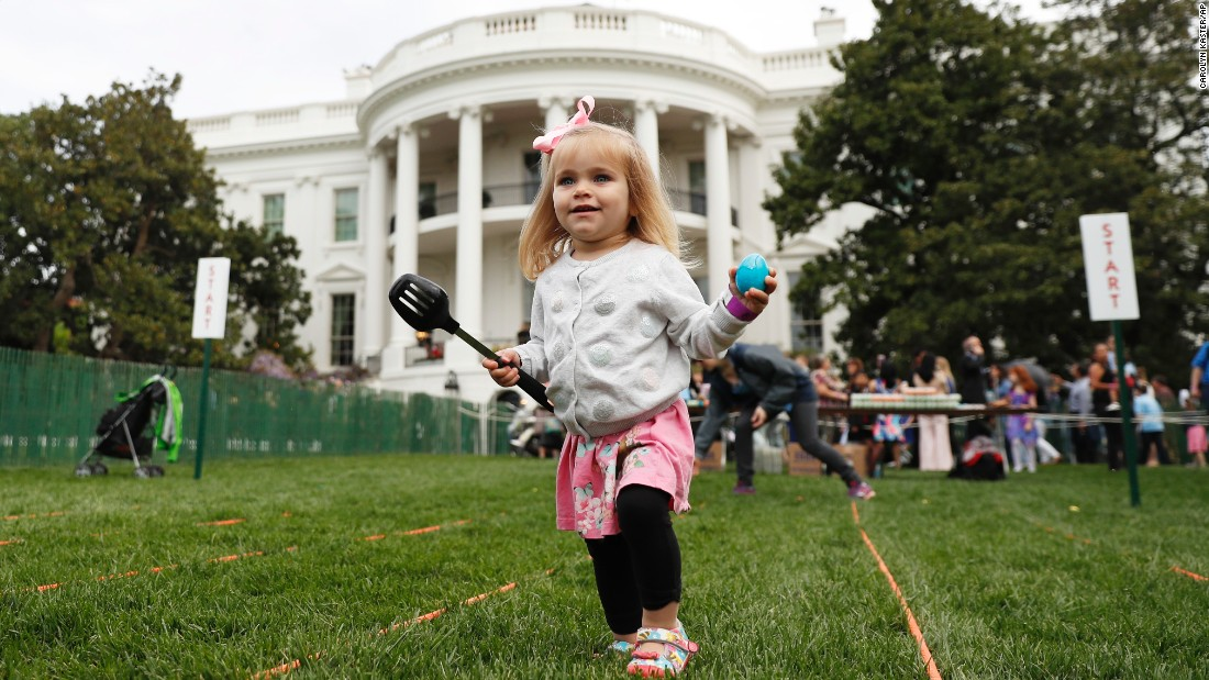 A young girl participates in the 139th annual White House Easter Egg Roll on the South Lawn of the White House in Washington, Monday, April, 17, 2017.