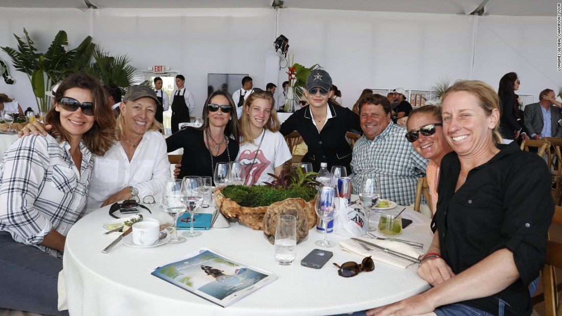 The second round of the Global Champions Tour was watched by a host of celebrities and athletes including tennis legend Martina Navratilova (second from left).