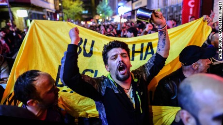 'No' supporters gather in Istanbul to protest Sunday after the results of the referendum.