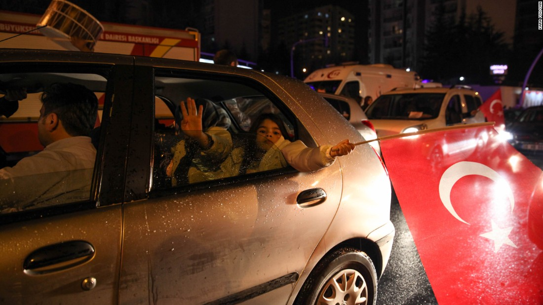 Erdogan supporters drove through the streets of the capital on Sunday night.
